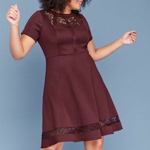 SCUBA FIT & FLARE DRESS WITH LACE Lane Bryant